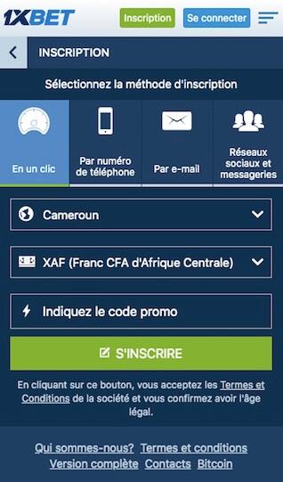créer un compte sur 1xbet mobile
