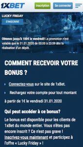 1xbet 100 euros offert
