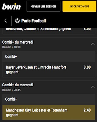 bwin paris accumulés man city leicester tottenham