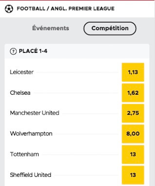 betclic pari top 4 premier league