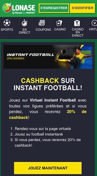 instant football cashback 20%