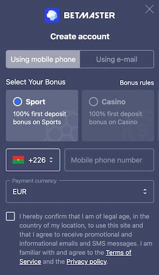 créer un compte betmaster