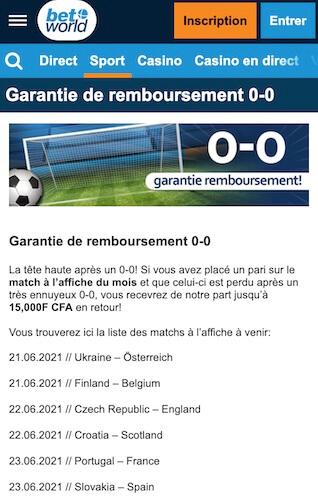 betworld garantie 0-0 match euro 2021